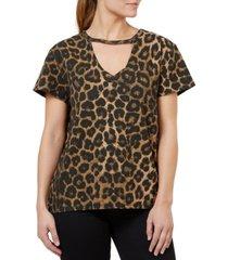 numero cotton leopard-print ribbed choker t-shirt