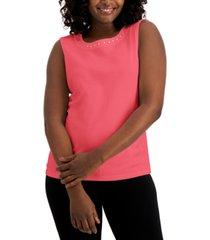 karen scott cotton rhinestone sleeveless top, created for macy's