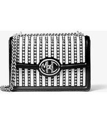 mk borsa a spalla monogramme in pelle a righe con borchie e catena - bianco/nero (bianco) - michael kors