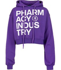 pharmacy industry woman purple crop hoodie with deconstructed logo