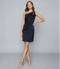 reiss adara - one-shoulder satin dress in navy, womens, size 14