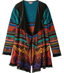 ajour-gebreid vest van kleurrijke jacquard, zwart-motief 36/38