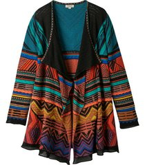 ajour-gebreid vest van kleurrijke jacquard, zwart-motief 44/46