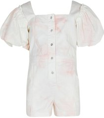 river island age 13+ cream denim puff sleeve playsuit