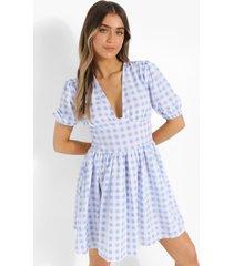 geruite skater jurk met pofmouwen en losvallende zoom, blue