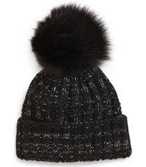 women's kyi kyi beanie with genuine fox fur pom - black