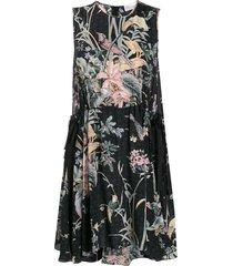 redvalentino antique flowers sleeveless flared dress - black