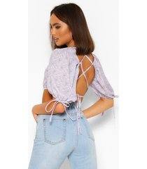paisley print puff dleev cross back top, lilac