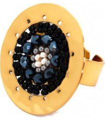 anillo imperial baño oro tejido negro/gris bijulovers