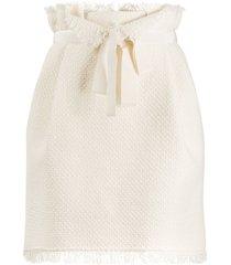 alberta ferretti tweed paperbag waist mini skirt - white