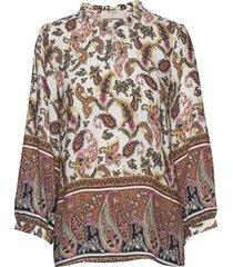 adajecr blouse blus långärmad multi/mönstrad cream