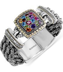 effy multistone woven bracelet in sterling silver and 18k gold (4-7/8 ct. t.w.)