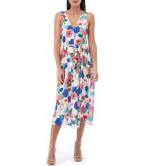 bobeau riley v-neck pleat dress, size x-large in painted floral at nordstrom