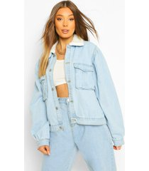 borg collar jean jacket, blue