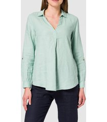 blusa camisera en lino verde claro esprit