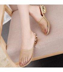 malla hueca zapatillas de gran tamaño pu goma metal mujer sandalias