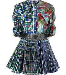 chopova lowena plaid-check print dress - blue