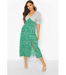 mixed animal print shirred cuff midi dress, green
