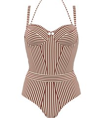 holi vintage plunge balcony bathing suit | wired padded red-ecru - 32d
