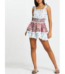 river island womens blue paisley beach dress with shorts