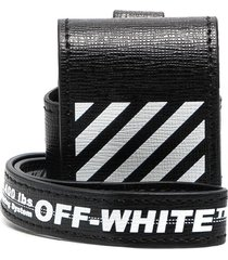 off-white diagonal print airpods case - black
