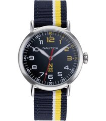 nautica n83 men's napwls907 wakeland blue/yellow stripe fabric strap watch