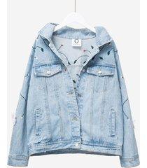 giacca di jeans casual ricamata per le donne