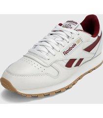 tenis lifestyle blanco-vinotinto reebok classics leather