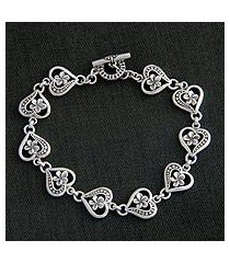 sterling silver flower bracelet, 'loyal love' (indonesia)