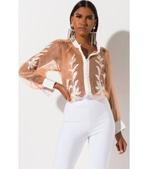 akira feeling pretty embroidered organza blouse