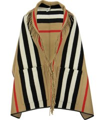 burberry wool and cashmere jacquard cape with iconic striped pattern