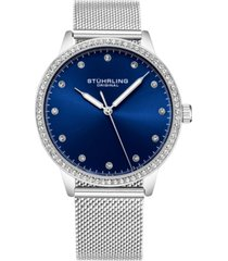stuhrling original women's silver case and mesh bracelet, silver dial watch