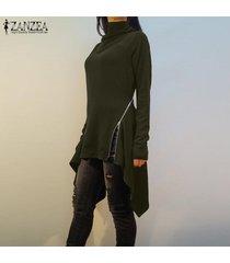 zanzea resorte de las mujeres suéter superior del puente tee camiseta de la túnica de la llamarada alto bajo la blusa -ejercito verde
