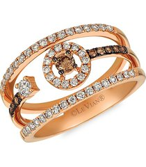 le vian women's 14k strawberry gold®, chocolate & nude diamonds® cocktail ring - size 7