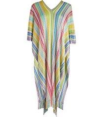 multicolor stripe fringe poncho