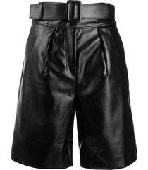 self-portrait patent effect bermuda shorts - black