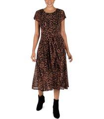 robbie bee petite leopard-print tie-front dress