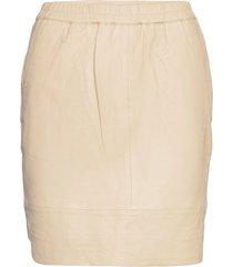 cc heart leather skirt kort kjol beige coster copenhagen