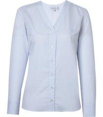 camisa dudalina manga longa tricoline fio tinto amarração feminina (listrado, 42)