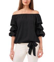 msk solid off-the-shoulder bell-sleeve tie-hem top