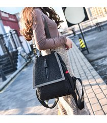 mochila de mujer, bolso de hombro con motivo de elefante-negro