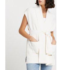 river island womens cream shawl collar tie waist cardigan