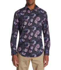 tallia men's slim-fit performance stretch multi floral long sleeve shirt