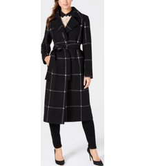 jones new york belted plaid maxi coat