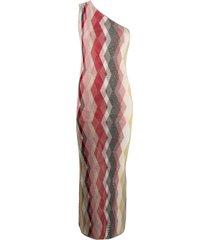 missoni one shoulder argyle knit silk dress - red