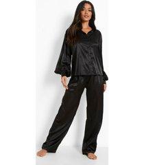 oversized satijnen pyjama set met top met ballonmouwen en broek, black