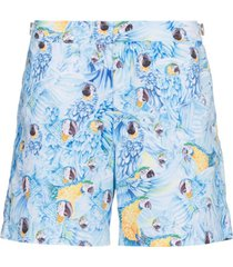 orlebar brown short com estampa bulldog parrot - azul