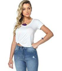 t-shirt daniela cristina gola v profundo 09 basica 602dc10309 branco pp - feminino