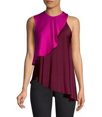 nora stretch silk layered halter blouse