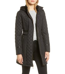 women's via spiga water resistant quilted hooded walker jacket, size small - black